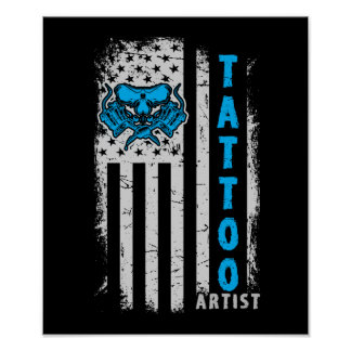 USA American Flag with Tattoo Artist Poster