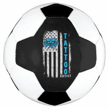 USA American Flag with Tattoo Artist Soccer Ball