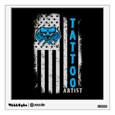 USA Themed USA American Flag with Tattoo Artist Wall Sticker