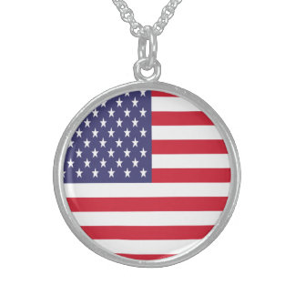 USA American Patriotic United States Sterling Silver Necklace