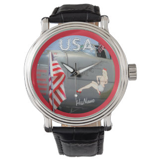 USA American Proud! Flyboy Add Name! Watch