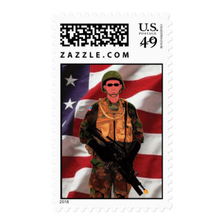 USA American Soldier US Flag Fade stamp