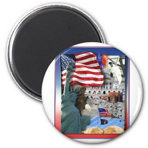 USA American Symbols 2 Inch Round Magnet