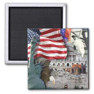 USA  American Symbols 2 Inch Square Magnet