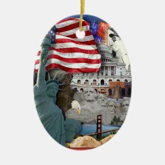 USA  American Symbols Ceramic Ornament