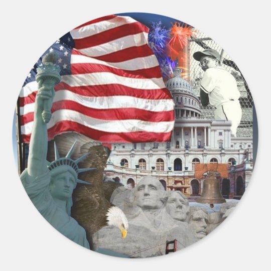 USA  American Symbols Classic Round Sticker