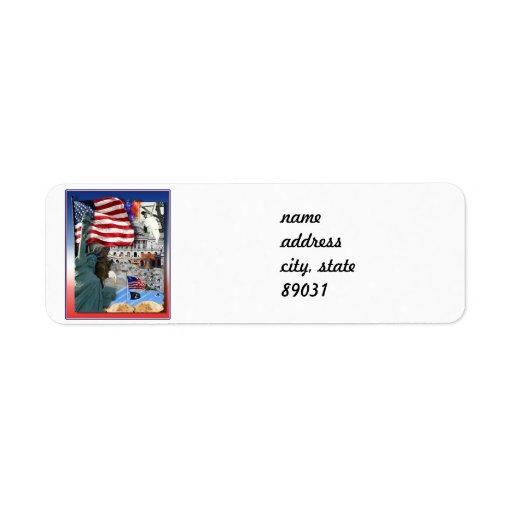 USA American Symbols Return Address Labels