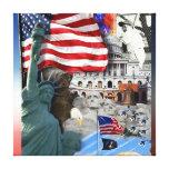 USA American Symbols Stretched Canvas Print