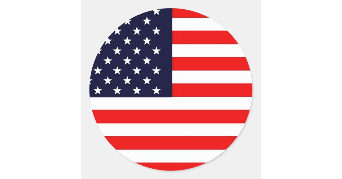 Usa american us flag series classic round sticker zazzle for American classic usa