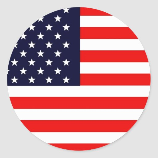 USA AMERICAN US FLAG Series Round Stickers
