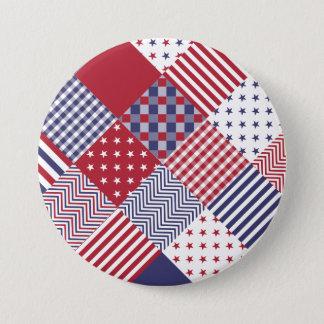 USA Americana Diagonal Red White & Blue Quilt Button