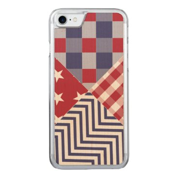 USA Themed USA Americana Diagonal Red White & Blue Quilt Carved iPhone 8/7 Case