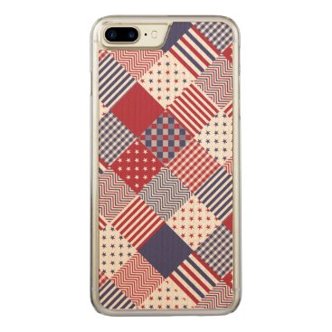 USA Themed USA Americana Diagonal Red White & Blue Quilt Carved iPhone 8 Plus/7 Plus Case