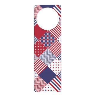 USA Americana Diagonal Red White & Blue Quilt Door Hanger