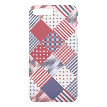 USA Themed USA Americana Diagonal Red White & Blue Quilt iPhone 7 Plus Case