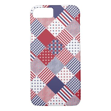 USA Themed USA Americana Diagonal Red White & Blue Quilt iPhone 8/7 Case