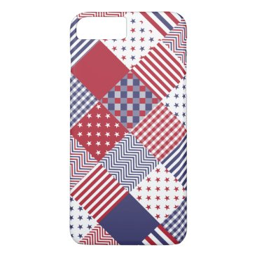 USA Themed USA Americana Diagonal Red White & Blue Quilt iPhone 8 Plus/7 Plus Case