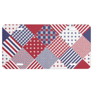 USA Americana Diagonal Red White & Blue Quilt License Plate