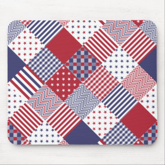 USA Americana Diagonal Red White & Blue Quilt Mouse Pad
