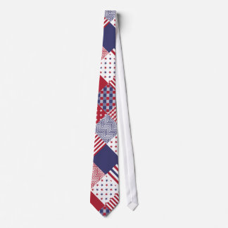USA Americana Diagonal Red White & Blue Quilt Neck Tie