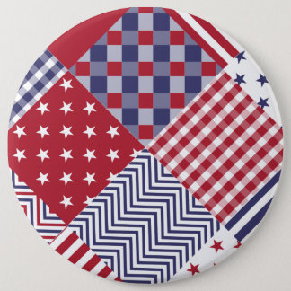 USA Americana Diagonal Red White & Blue Quilt Pinback Button