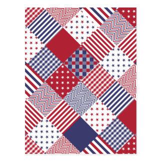 USA Americana Diagonal Red White & Blue Quilt Postcard
