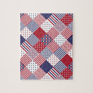 USA Americana Diagonal Red White & Blue Quilt Jigsaw Puzzle