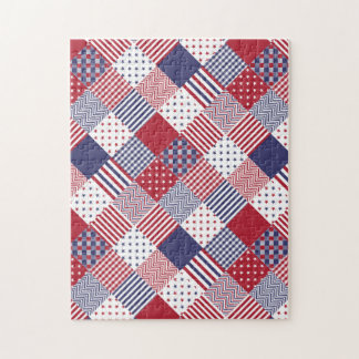 USA Americana Diagonal Red White & Blue Quilt Puzzle