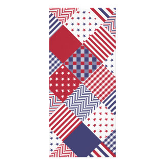 USA Americana Diagonal Red White & Blue Quilt Customized Rack Card