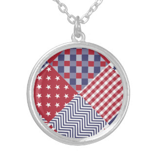 USA Americana Diagonal Red White & Blue Quilt Round Pendant Necklace