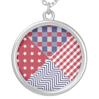 USA Americana Diagonal Red White & Blue Quilt Silver Plated Necklace