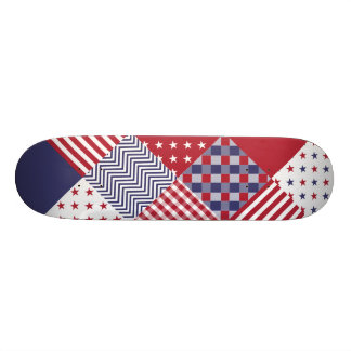 USA Americana Diagonal Red White & Blue Quilt Skateboard