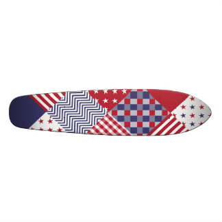 USA Americana Diagonal Red White & Blue Quilt Skateboard Deck