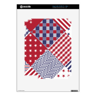 USA Americana Diagonal Red White & Blue Quilt Skin For iPad 2
