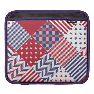 USA Americana Diagonal Red White & Blue Quilt Sleeve For iPads
