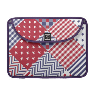 USA Americana Diagonal Red White & Blue Quilt Sleeve For MacBook Pro