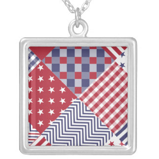 USA Americana Diagonal Red White & Blue Quilt Square Pendant Necklace