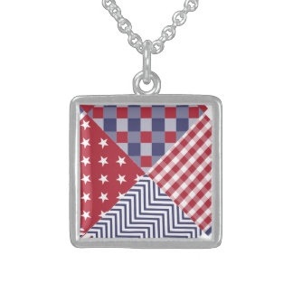 USA Americana Diagonal Red White & Blue Quilt Sterling Silver Necklace