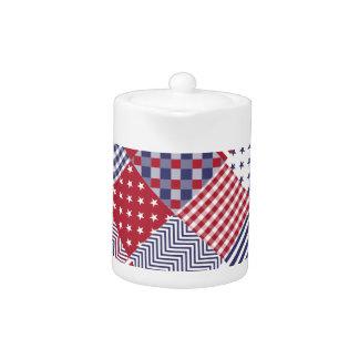 USA Americana Diagonal Red White & Blue Quilt Teapot