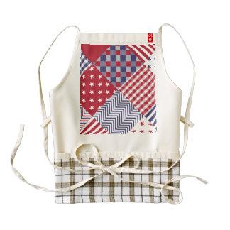 USA Americana Diagonal Red White & Blue Quilt Zazzle HEART Apron