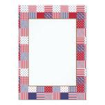 USA Americana Patchwork Red White & Blue 5x7 Paper Invitation Card