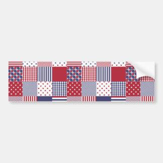 USA Americana Patchwork Red White & Blue Bumper Sticker
