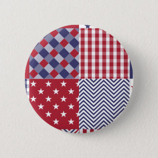 USA Americana Patchwork Red White & Blue Button