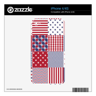 USA Americana Patchwork Red White & Blue iPhone 4S Decal