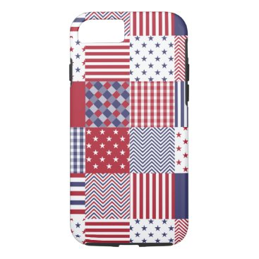 USA Themed USA Americana Patchwork Red White & Blue iPhone 8/7 Case