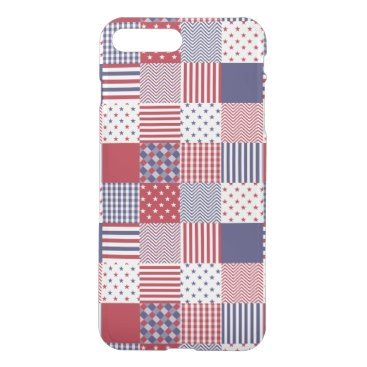 USA Themed USA Americana Patchwork Red White & Blue iPhone 8 Plus/7 Plus Case