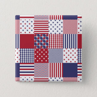USA Americana Patchwork Red White & Blue Pinback Button