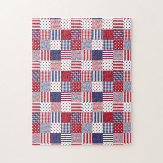 USA Americana Patchwork Red White & Blue Jigsaw Puzzle