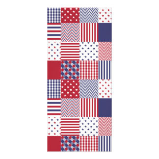 USA Americana Patchwork Red White & Blue Personalized Rack Card