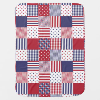USA Americana Patchwork Red White & Blue Receiving Blanket
